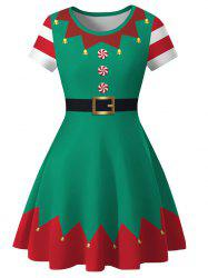 Christmas 3D Print Knee Length Dress -