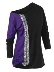 Plus Size Sequined Skew Collar Tunic T Shirt -