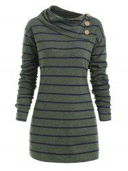 Plus Size Striped Elbow Patch Tunic Knitwear -