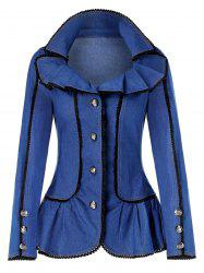 Button Turn-down Collar Ruffle Coat -