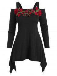 Plus Size Asymmetric Open Shoulder Embroidered T Shirt -