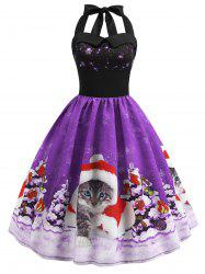 Christmas Hat Cat Print Shirred Sleeveless Dress -
