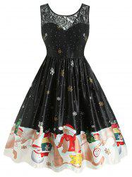 Plus Size Christmas Vintage Cat Snowflake Print Party Dress -