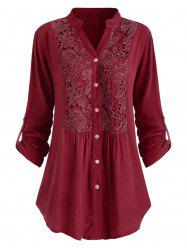 Plus Size Roll Up Sleeve Lace Crochet Shirt -