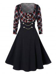 Plus Size High Waist Checked Panel Fit And Flare Dress -
