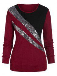 Colorblock Sequins Knitwear -