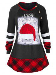 Plus Size Plaid Panel Tunic Christmas Button T Shirt -