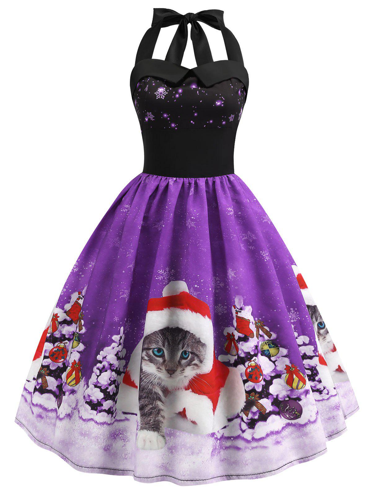 Chic Christmas Hat Cat Print Shirred Sleeveless Dress