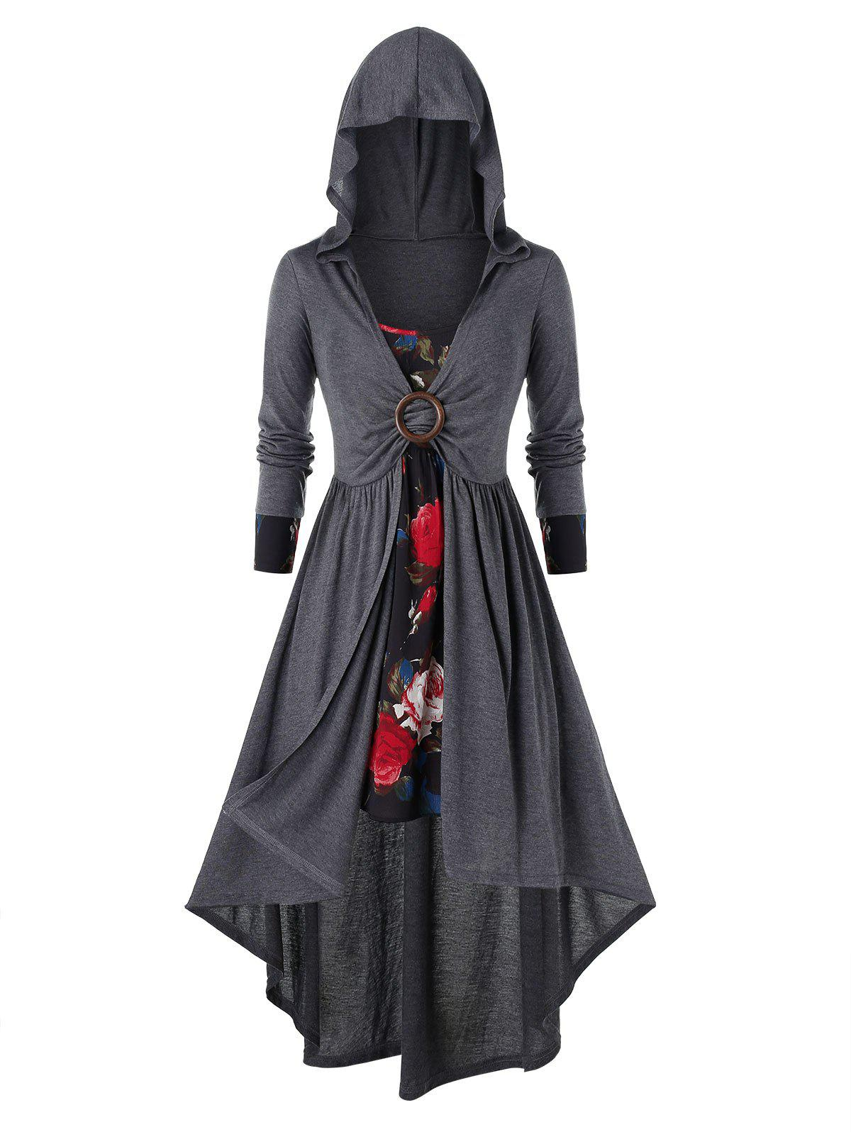 Fashion Plus Size Flower Cami Dress and Hooded Asymmetric Coat Set