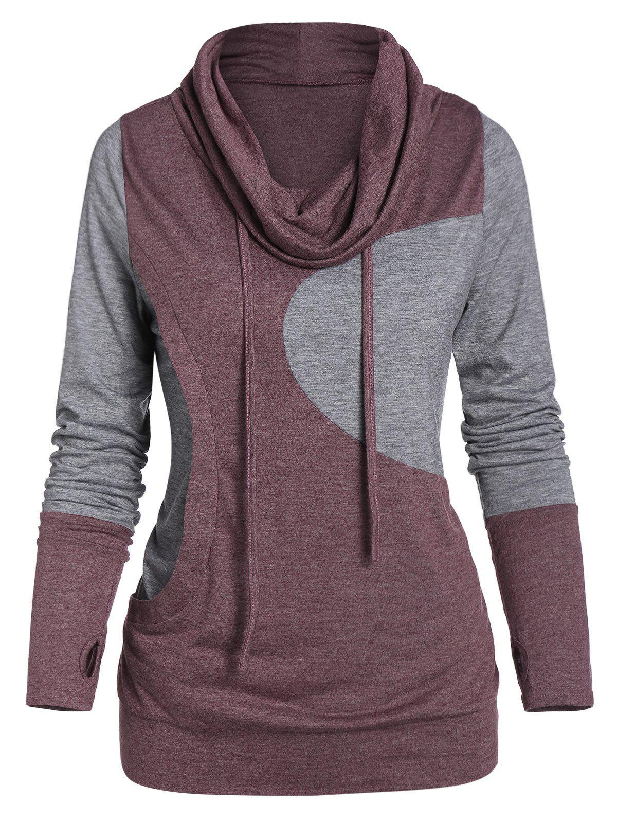 Glove Sleeve Contrast Heathered Drawstring Cowl Neck T-shirt фото