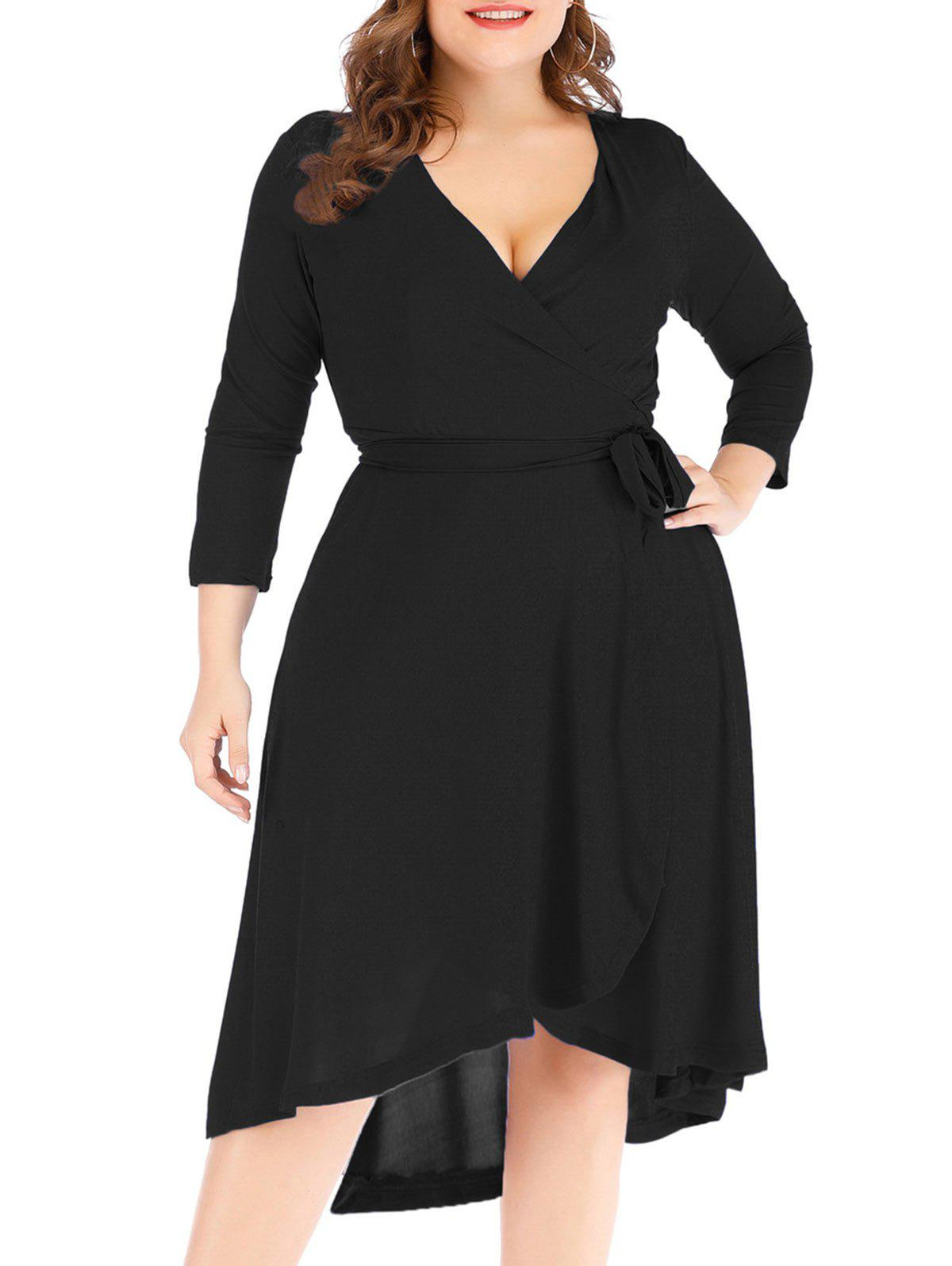 Solid High Low Plus Size Wrap Dress