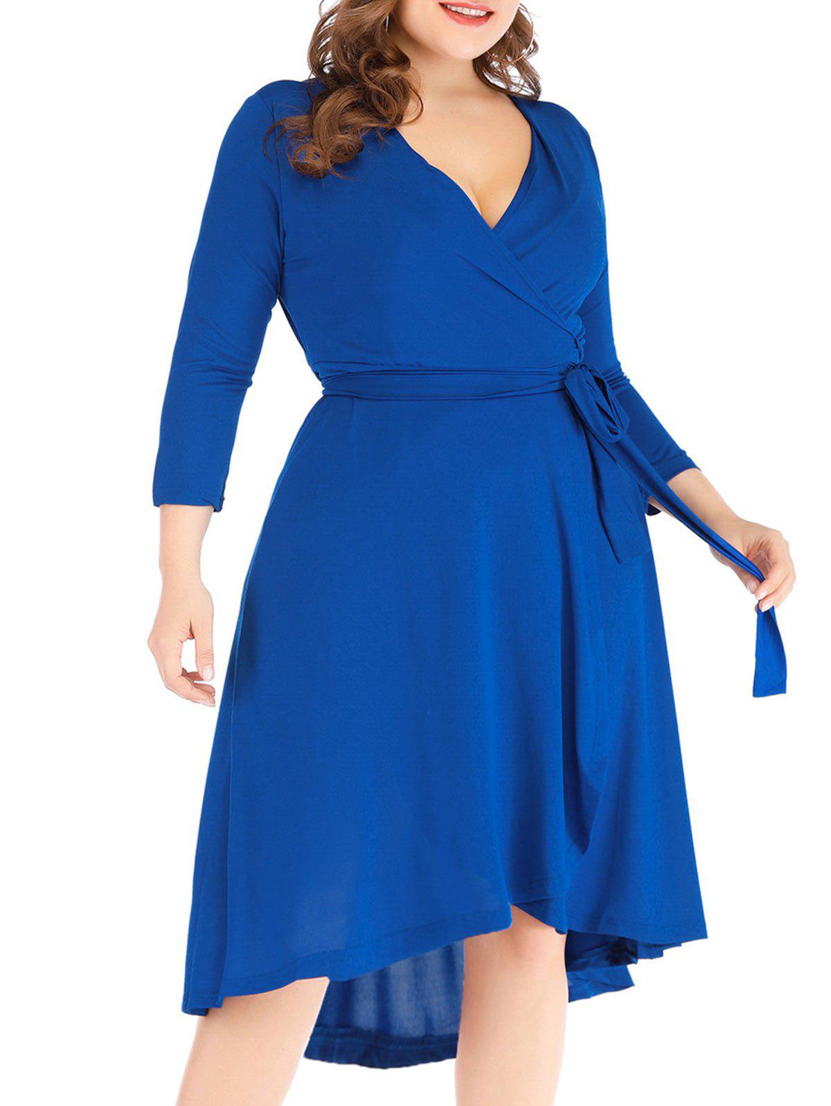 New Solid High Low Plus Size Wrap Dress