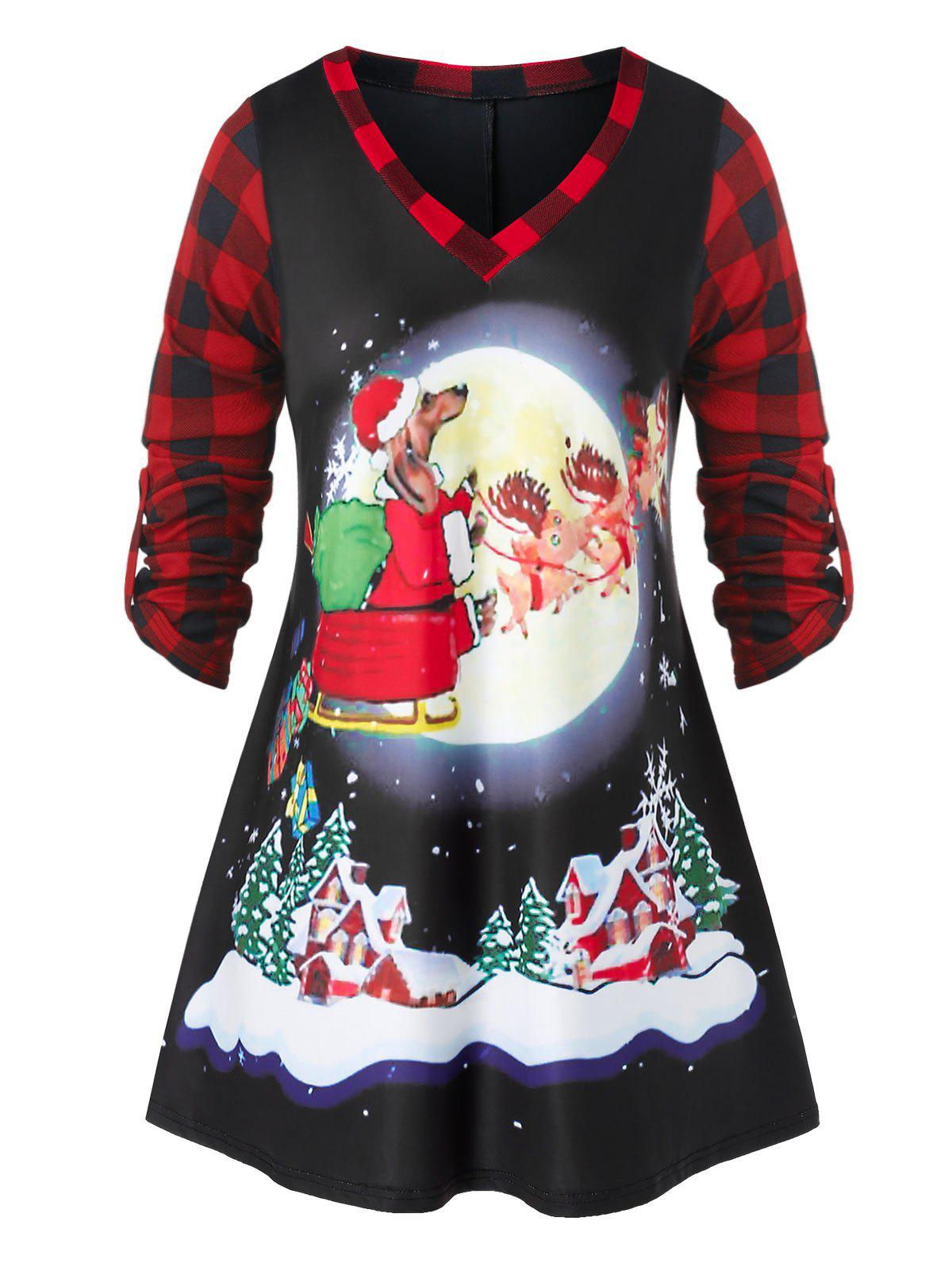 Discount Plus Size Christmas Roll Up Sleeve Plaid Printed T Shirt