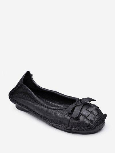 Affordable Braid Round Toe Bowknot Slip On Flat Shoes