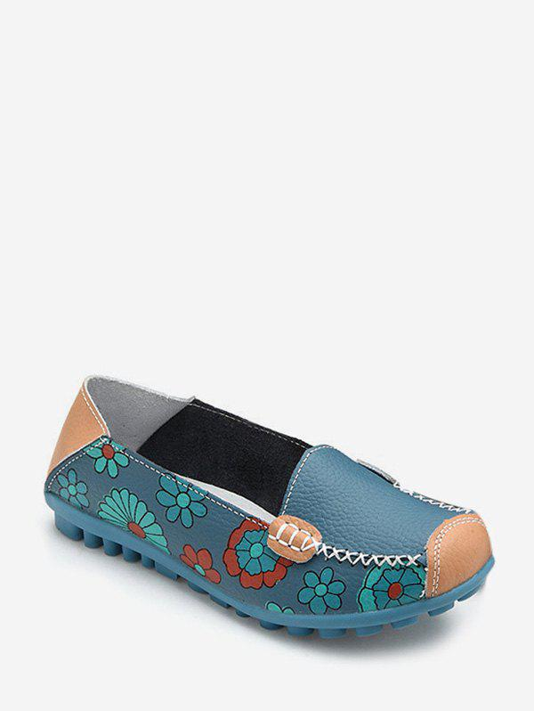 Buy Floral Print Slip On PU Leather Flat Shoes