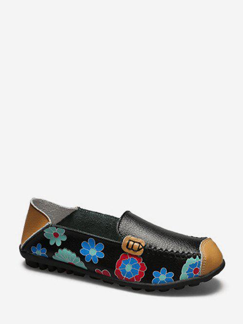 Hot Floral Print Slip On PU Leather Flat Shoes