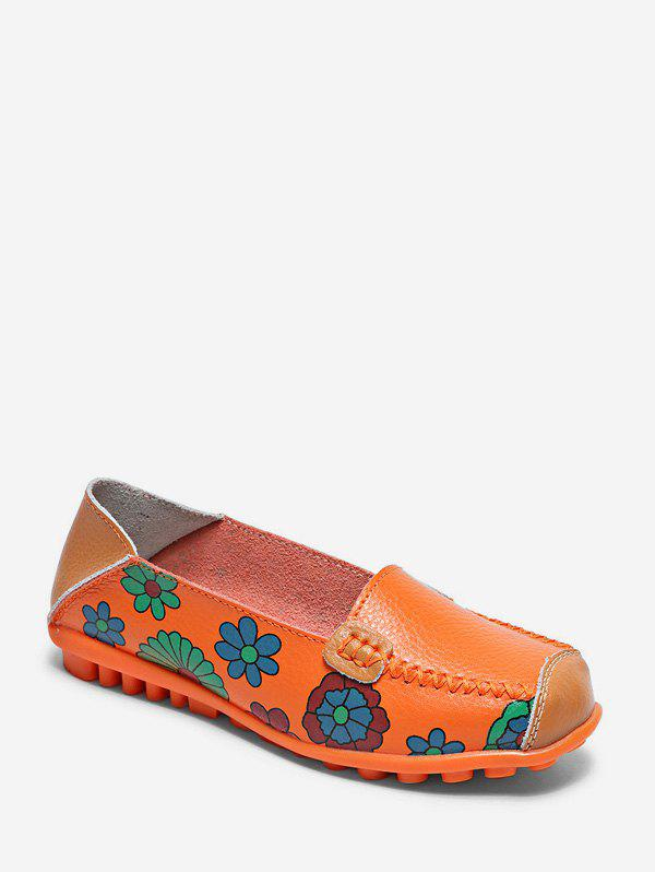 Fancy Floral Print Slip On PU Leather Flat Shoes