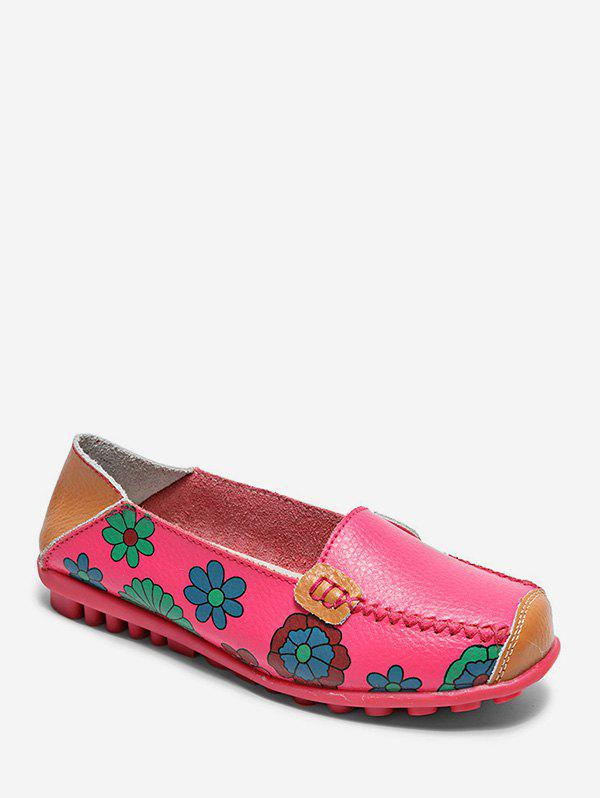 Best Floral Print Slip On PU Leather Flat Shoes