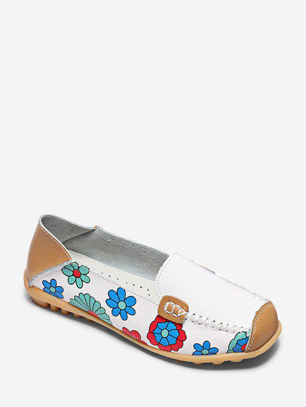 Discount Floral Print Slip On PU Leather Flat Shoes