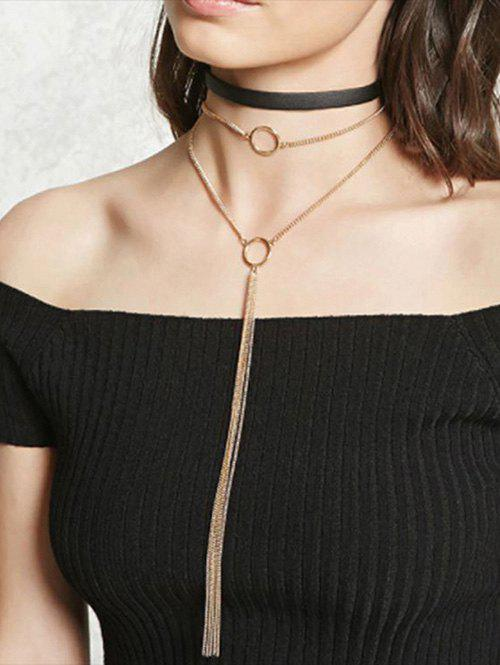Trendy Layered Choker Necklace with Tassel Chain