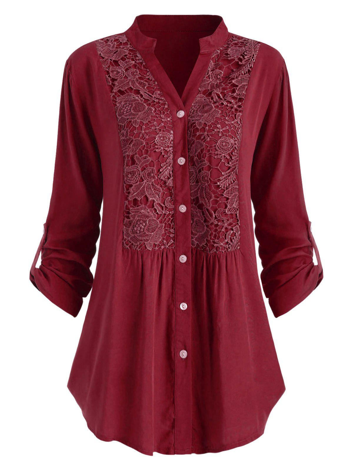 Store Plus Size Roll Up Sleeve Lace Crochet Shirt