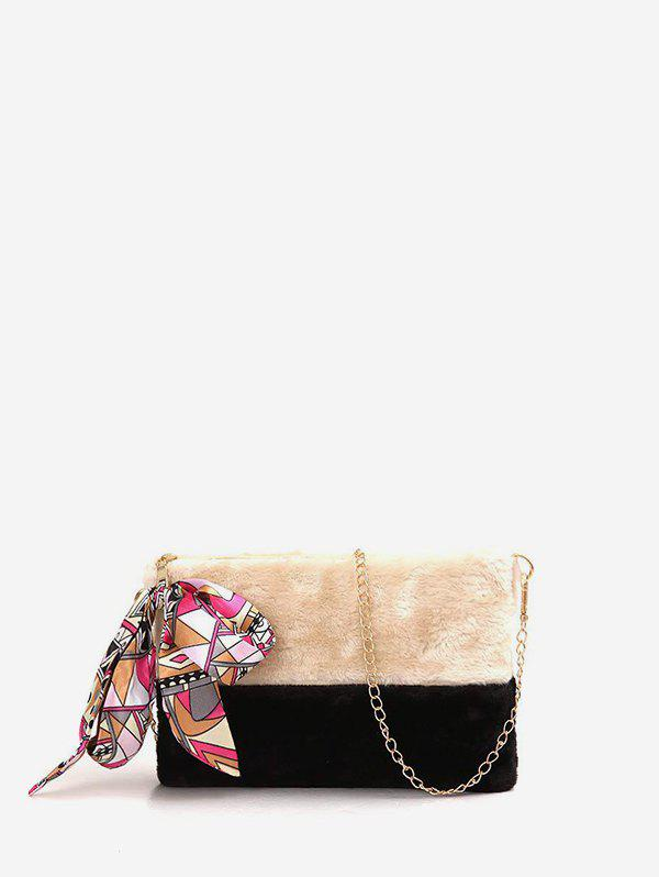 Cheap Ribbon Decorated Fuzzy Crossbody Chain Bag