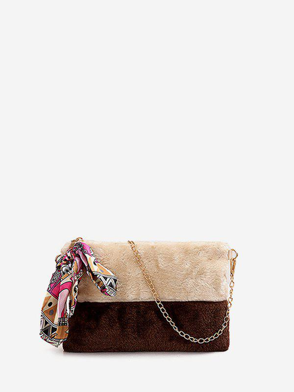 Outfits Ribbon Decorated Fuzzy Crossbody Chain Bag
