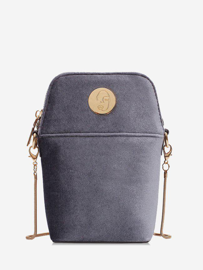 Affordable Metal Face Velour Mini Chain Crossbody Bag
