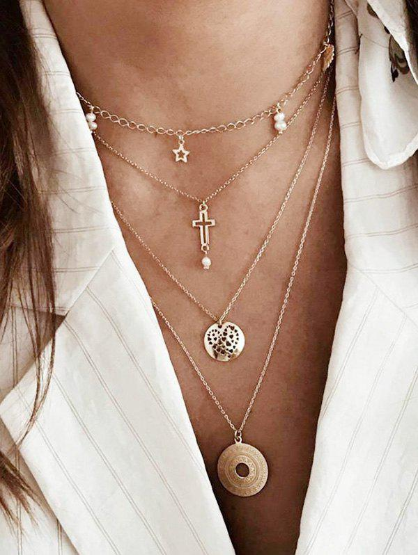 Cheap Cross Star Disc Multi-layer Chain Necklace
