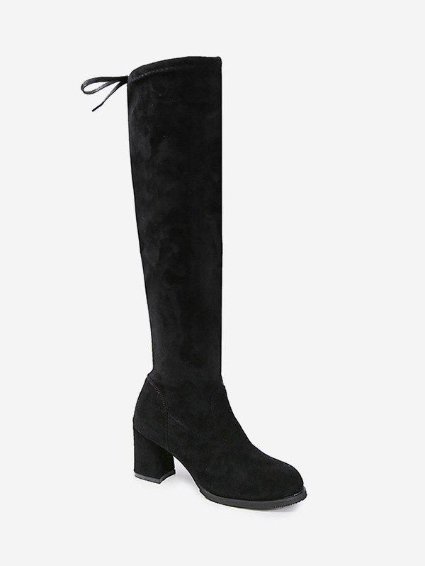 Cheap String Round Toe Chunky Heel Boots