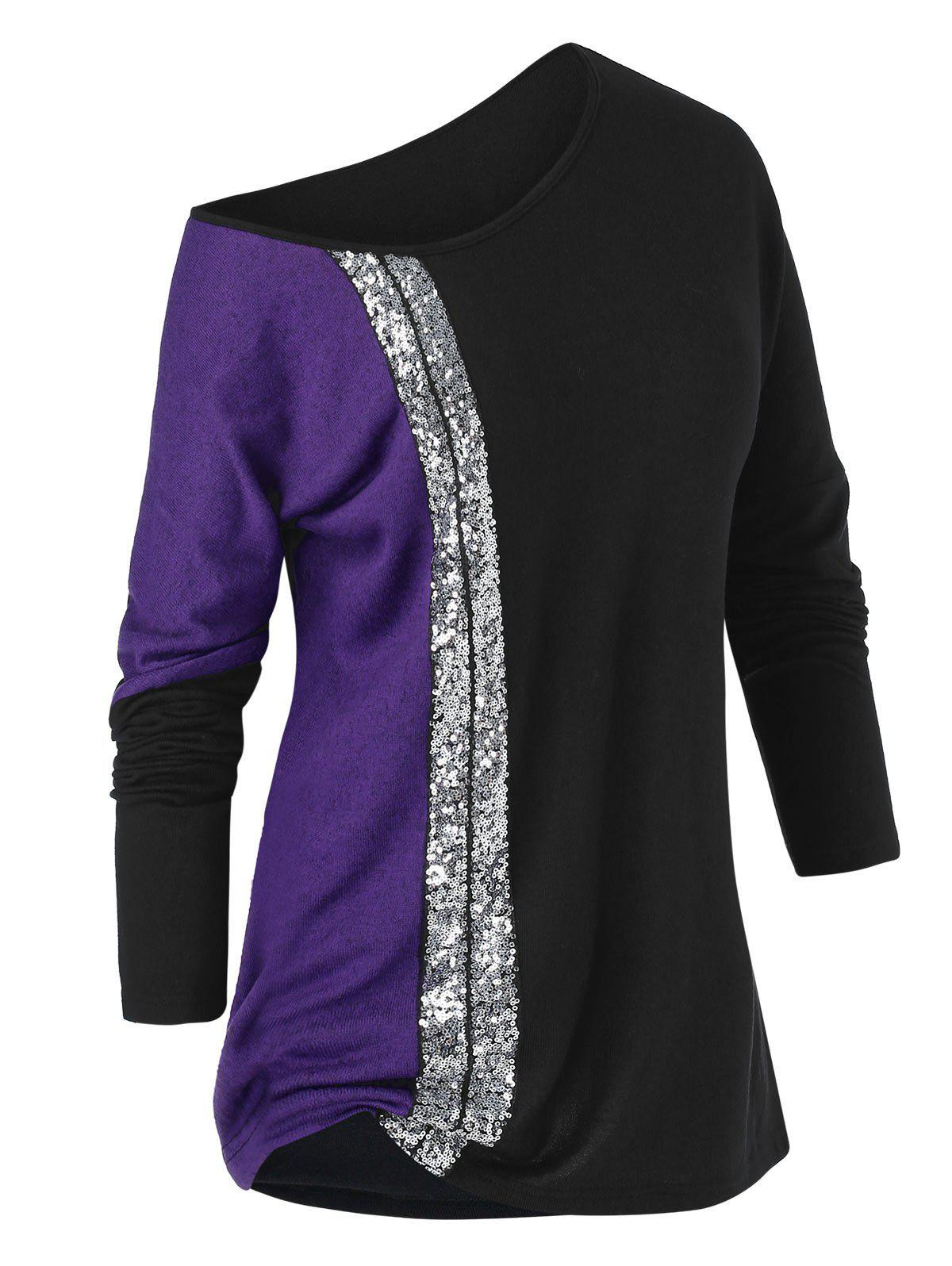 Best Plus Size Sequined Skew Collar Tunic T Shirt