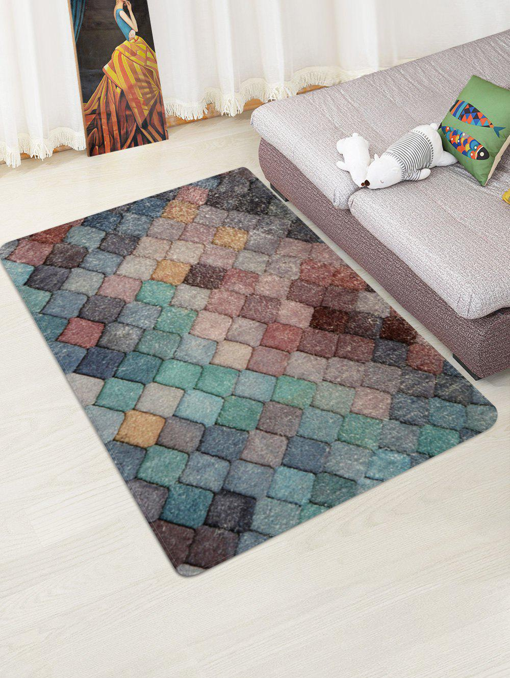 Affordable Colorful Rhombic Print Rug