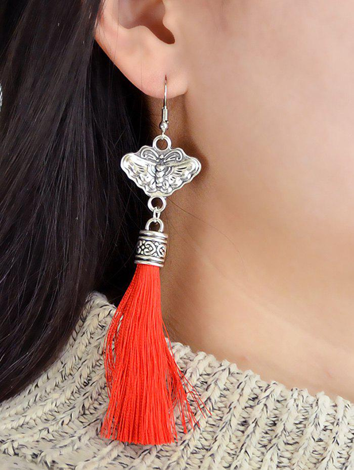 Store Butterfly Carved Tassel Decorated Dangle Earrings
