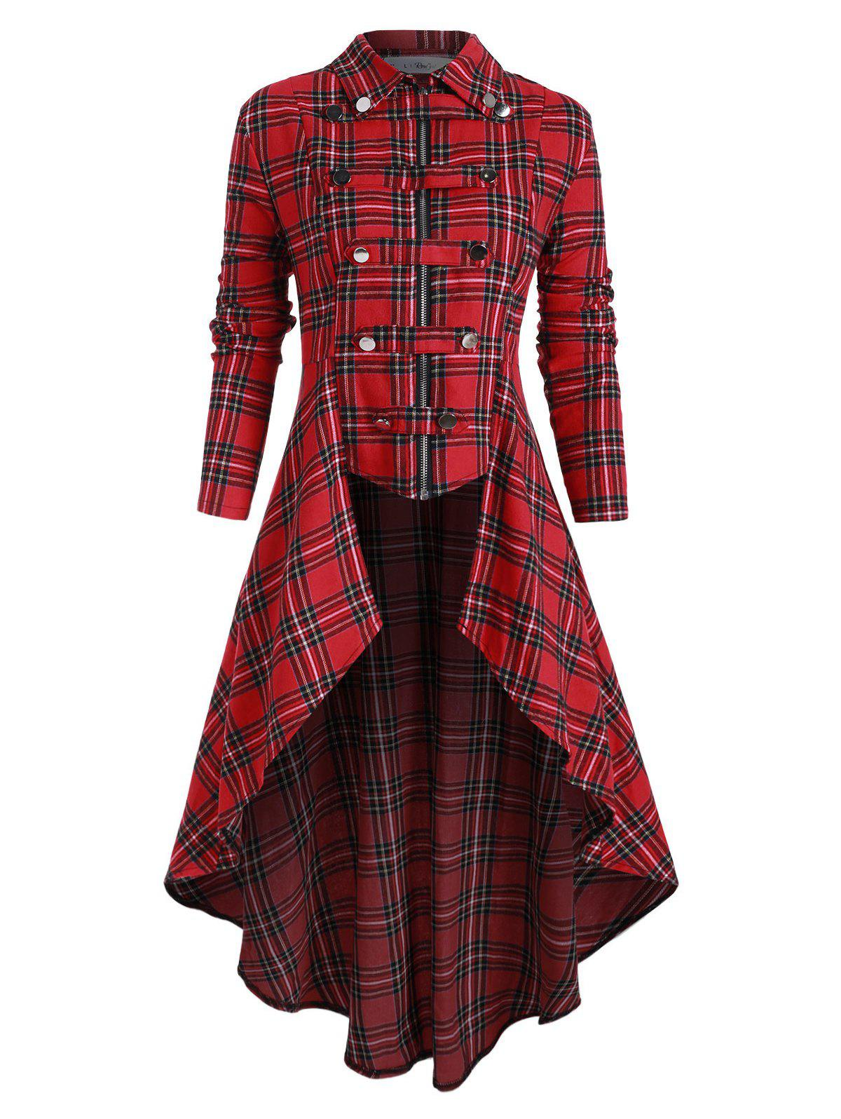 Online Plus Size Buckle Plaid High Low Skirted Coat