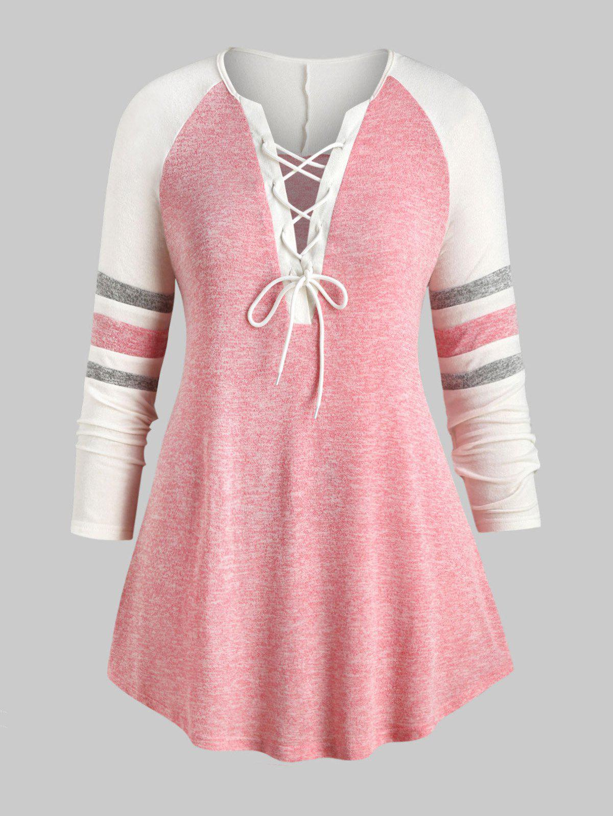 Cheap Plus Size Lace Up Heathered Striped V Neck Tee