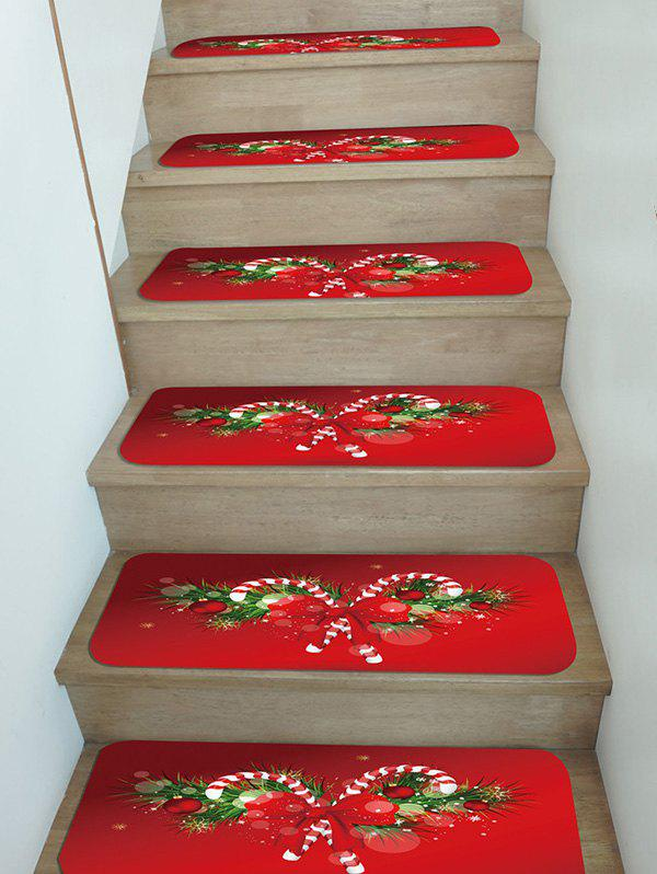 Chic Christmas Candy Cane Pattern Stair Tread Rugs Set