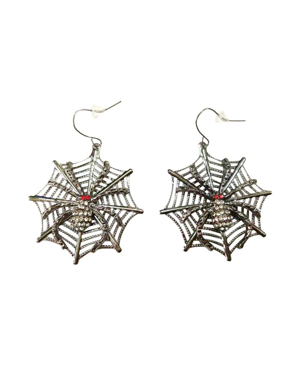 Shop Halloween Rhinestone Spider Web Hook Earrings