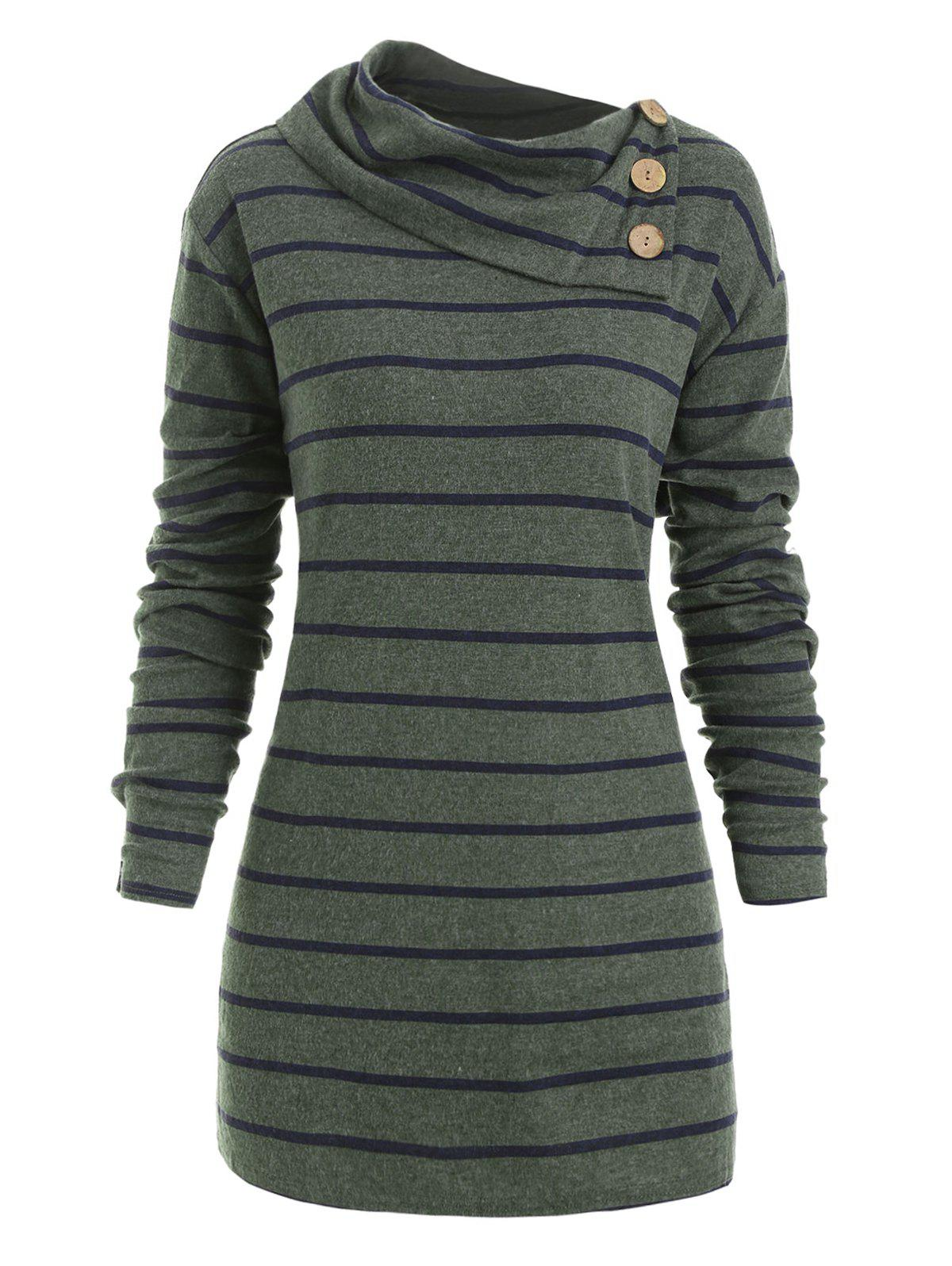 Sale Plus Size Striped Elbow Patch Tunic Knitwear