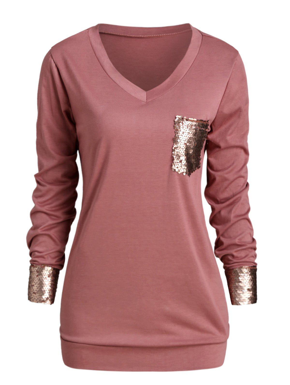 Outfit Plus Size Sequined Pocket Longline T-shirt
