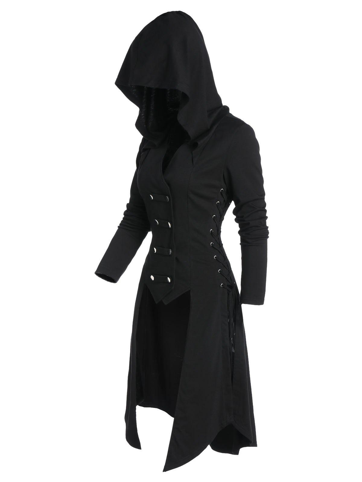 Latest Hooded Button Up Lace-up High Low Steampunk Coat