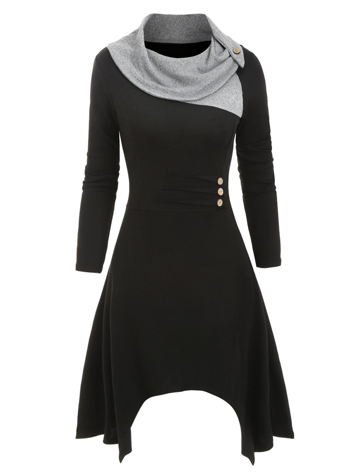 Discount Cowl Neck Mock Button Knitted Midi Dress