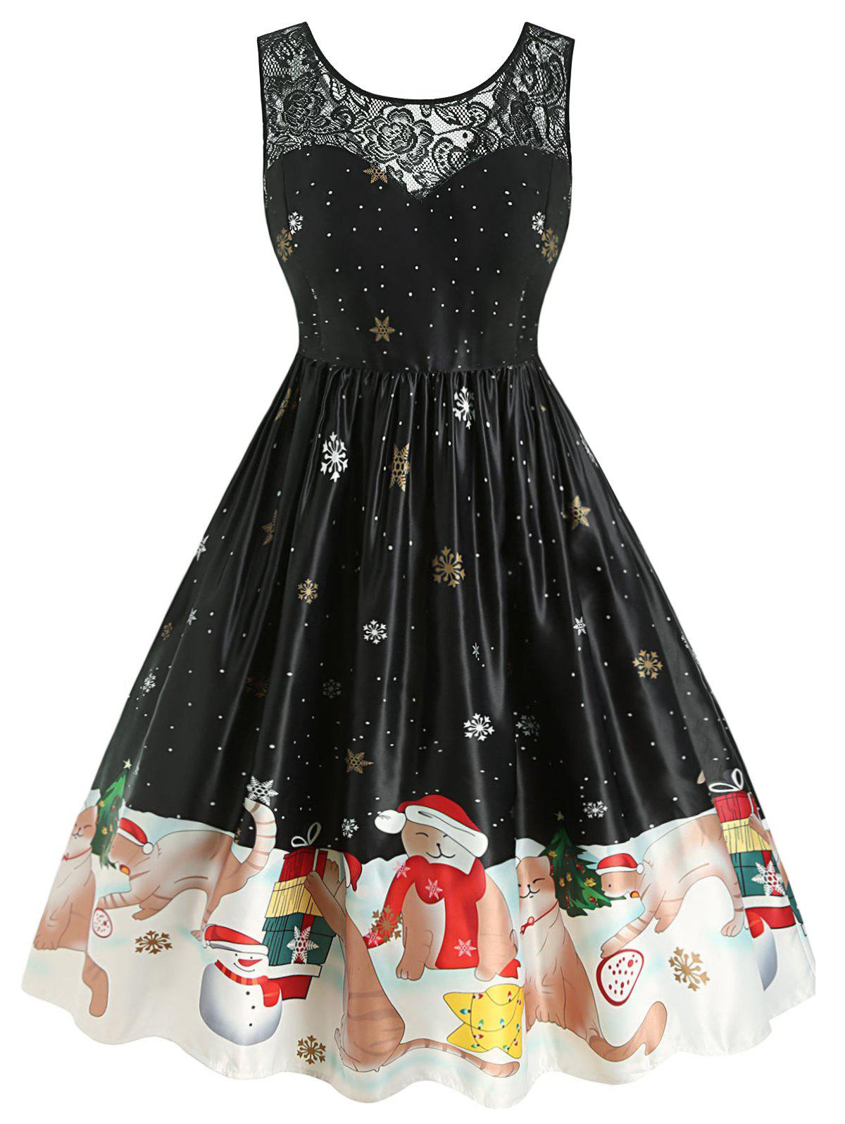 Fashion Plus Size Christmas Vintage Cat Snowflake Print Party Dress