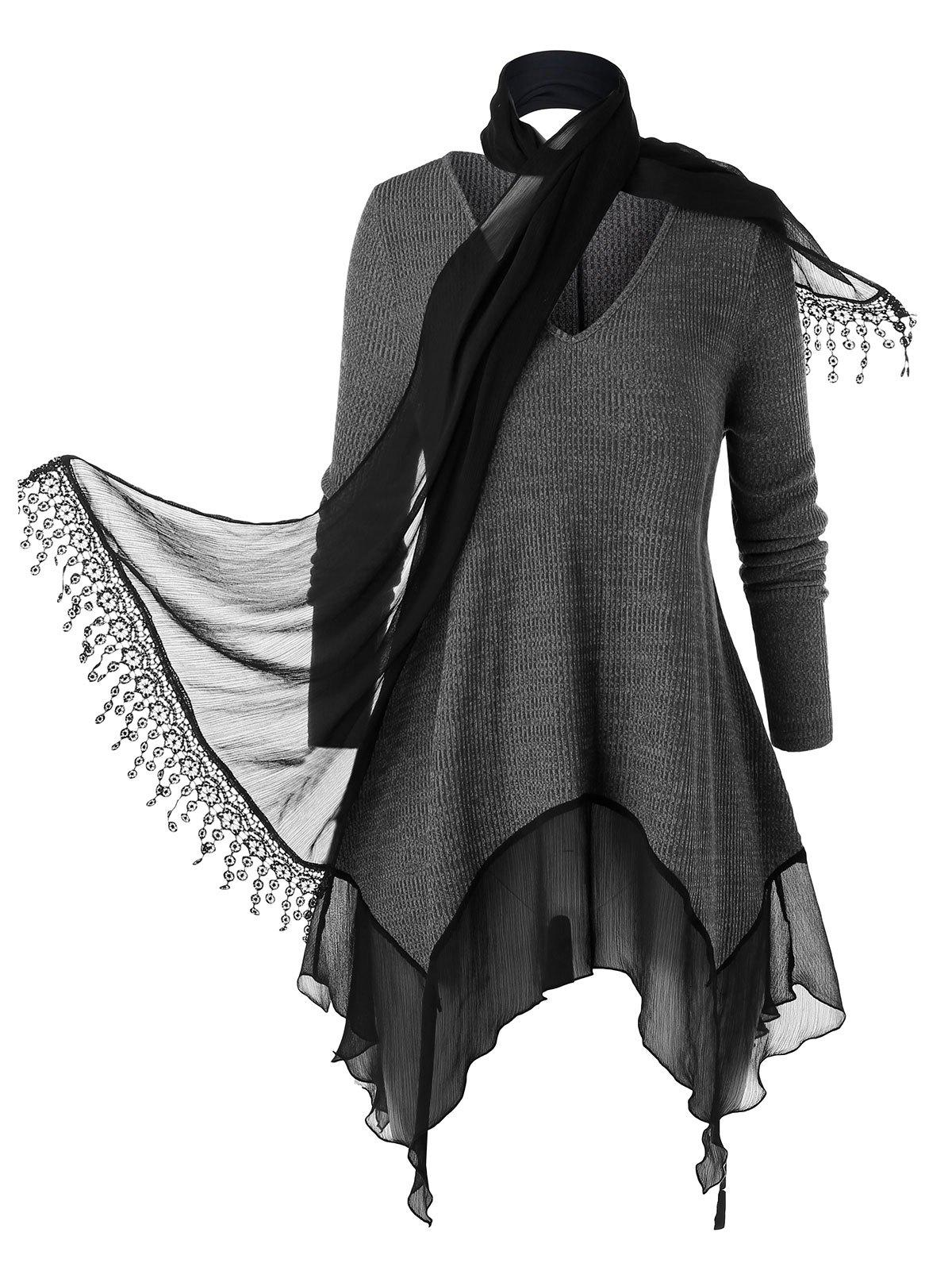 Best Plus Size Flounce Space Dye Knitwear With Scarf