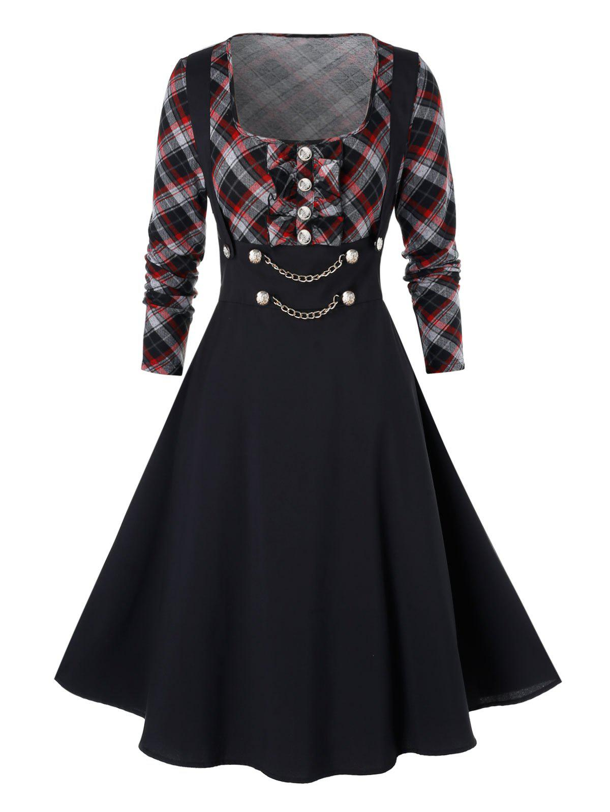 Affordable Plus Size High Waist Checked Panel Fit And Flare Dress