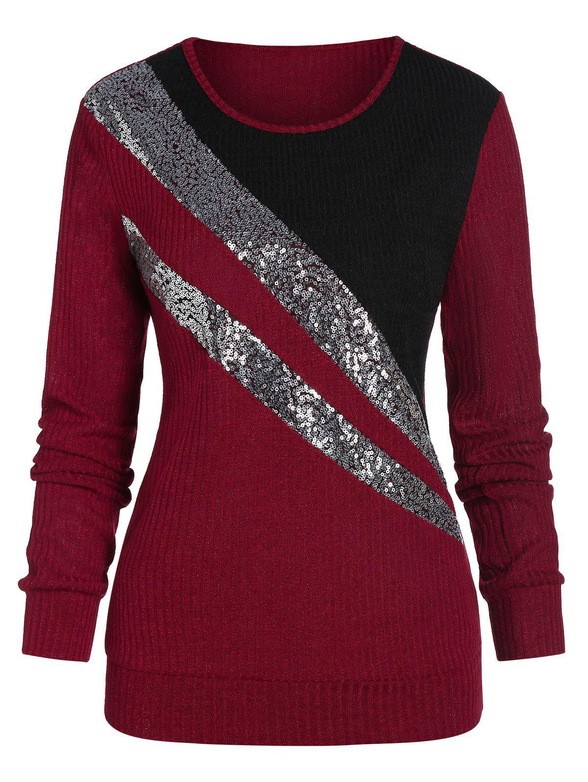 Trendy Colorblock Sequins Knitwear