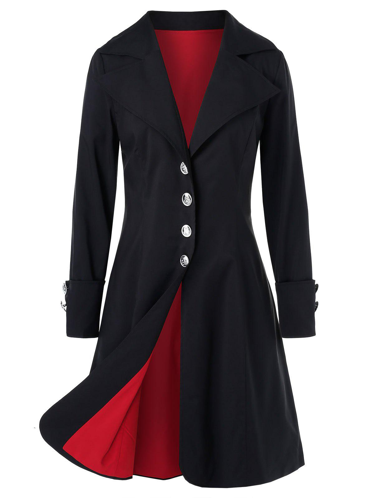 Manteau Long Simple Boutonnage Grande Taille à Revers Noir 4X