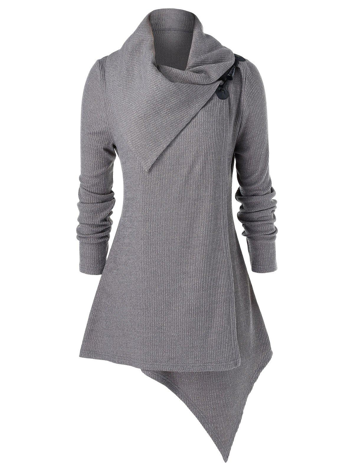 Affordable Plus Size Asymmetrical Buckle Tunic Surplice Knitwear