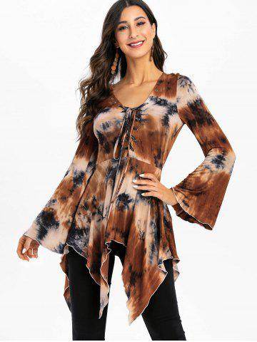 Halloween Bell Sleeve Tie Dye Lace Up Gothic T Shirt