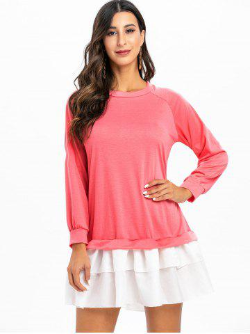 Raglan Sleeve Color Block Straight Dress