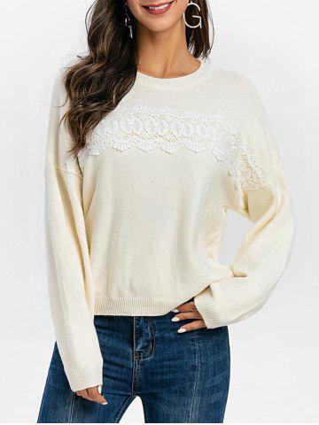 Guipure Panel Drop Shoulder Pullover Sweater - WHITE - XL
